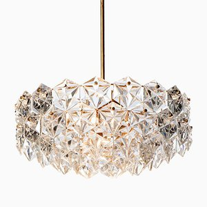Mid-Century Seven-Light Hexagonal Crystal Glass & Gilt Brass Chandelier from Kinkeldey