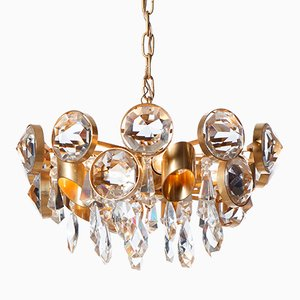 Mid-Century Five-Light Gilt Brass & Crystal Glass Chandelier
