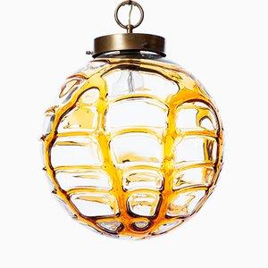 Lampada a sospensione unica in vetro giallo, anni '60