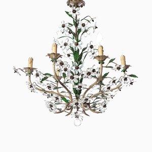 Lámpara de araña floral Mid-Century de 6 luces de cristal y latón, años 50