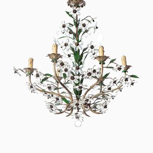 Mid-Century 6-Light Crystal and Brass Floral Chandelier, 1950s