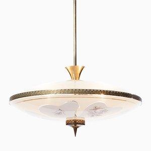 Lámpara colgante italiana Mid-Century de latón y vidrio grabado con 3 luces, años 50
