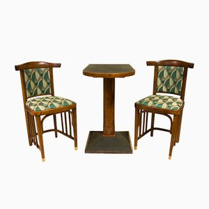 Ensemble Lounge Café Antique Sécession Viennoise 1910s, Set de 3