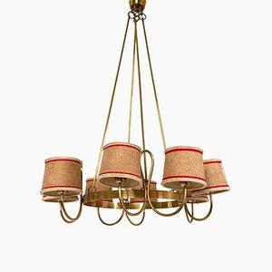 Lámpara de araña italiana vintage de latón con 8 luces, años 40