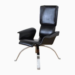 Mid-Century Italian Black Leather Armchair