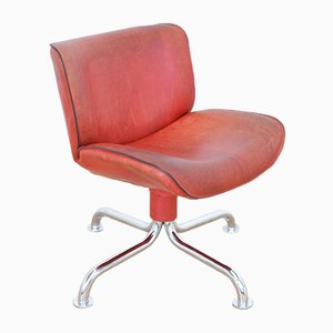 Vintage Swiss Red Leather Side Chair from Atelier L