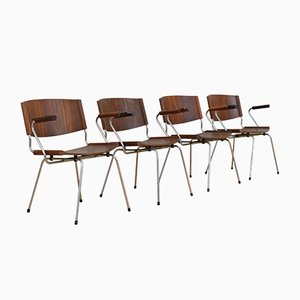 Mid-Century Steel and Rosewood Chairs by Nanna Ditzel for Snedkergaarden Them, Set of 4