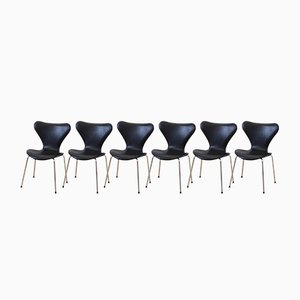 Sedie 3107 Mid-Century di Arne Jacobsen per Fritz Hansen, Danimarca, set di 6