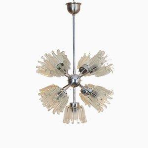 Lámpara de araña Mid-Century de cromo con tulipanes de vidrio escarchado de Doria