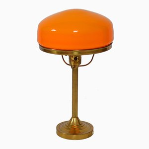 Mid-Century Swedish Orange Table Lamp from Karlskrona