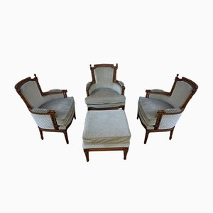 Vintage French Louis XVI Style Salon Armchairs with Ottoman