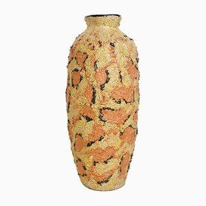 Mid-Century Vase in Senfgelb und Pfirsich, 1960er