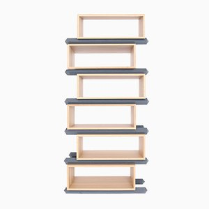 Stack Storage Six-Tier Staggered Wood Open Shelves from Debra Folz Design