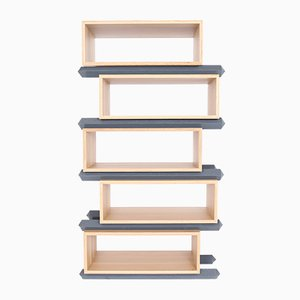 Stack Storage Five-Tier Wood Staggered Open Shelves from Debra Folz Design