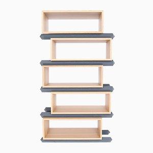 Stapelbare Versetzte Fünfteilige Holzfächer von Debra Folz Design