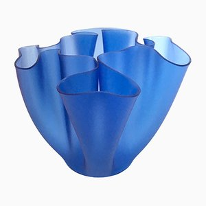Vintage Blue Cartoccio Vase by Pietro Chiesa for Fontana Arte