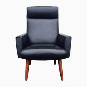 Danish Modern Black Leatherette and Teak Highback Chair, 1960s