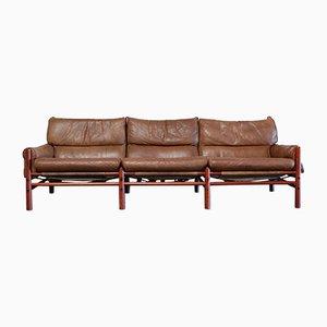 Sofá de 3 plazas Kontiki vintage de cuero de Arne Norell