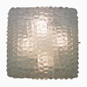 Lámpara de pared vintage grande de vidrio estructurado de Kalmar