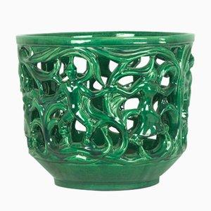 Coprivaso in ceramica verde, Italia, anni '30