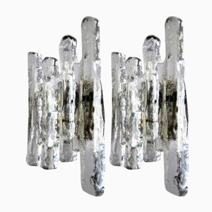 Austrian Large Glass Ice Sconces from Kalmar, 1960s, Set of 2