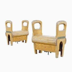 Potros de gimnasia de madera de Sporta de Wael- Zele, años 60. Juego de 2