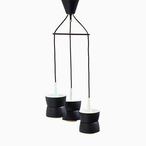 Lámpara de araña danesa con suspensión de teca de Voss Belysning, años 50