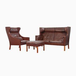 Vintage 2192 Sofa, 2204 Ohrensessel und Hocker von Børge Mogensen für Fredricia Furniture