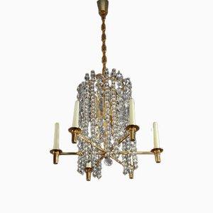 Lámpara de araña austriaca de cristal de latón bañado en oro y vidrio de Bakalowits & Söhne, años 60