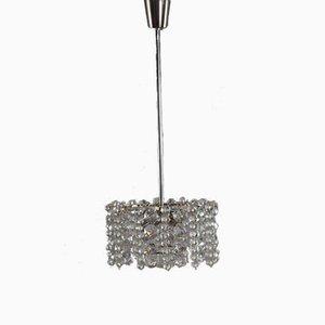 Lámpara de araña austriaca de cristal y níquel de Bakalowits & Söhne, años 60