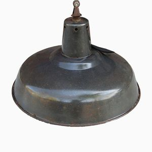 Vintage French Industrial Off-Black Pendant Lamp