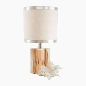 Vintage Resin Lampe mit Weizen Einbindung & Weißer Koralle von Pierre Giraudon, 1960er