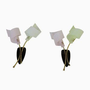 Lámparas de pared italianas con dos luces, años 50. Juego de 2
