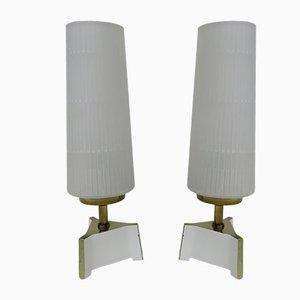 Lámparas de mesa de noche de latón y vidrio, años 50. Juego de 2