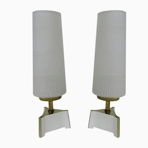 Night Stand Lamps in Brass and Glass, 1950s, Set of 2