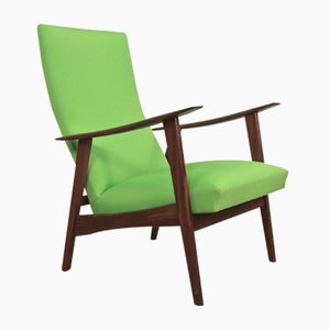Mid-Century Danish Lounge Chair in Teak & Green Fabric, 1960s