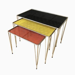 Tavolini a incastro vintage in metallo perforato