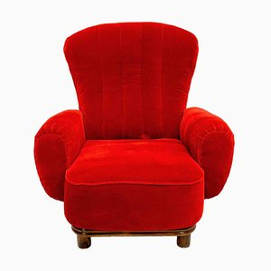 Red Velvet Lounge Chair by Guglielmo Ulrich, 1930s
