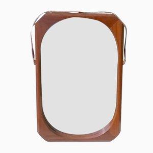 Espejo de pared de teca, años 50