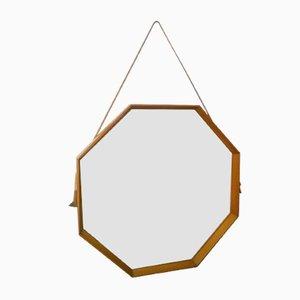 Italian Teak Wood Mirror, 1950s