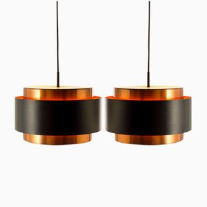 Vintage Saturn Pendants in Copper and Black Metal by Jo Hammerborg for Fog & Morup, Set of 2
