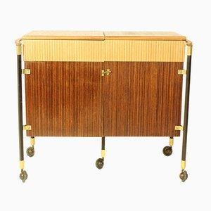 Mueble bar español de teca y madera de Zebrano, años 60