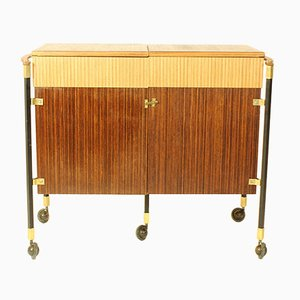 Spanish Zebrano Wood and Teak Bar Cabinet, 1960s
