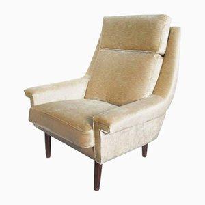 Dänischer Beiger Mid-Century Sessel aus Samt, 1950er