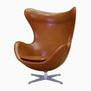 Chaise Egg en Cuir Cognac par Arne Jacobsen pour Fritz Hansen, 1960s