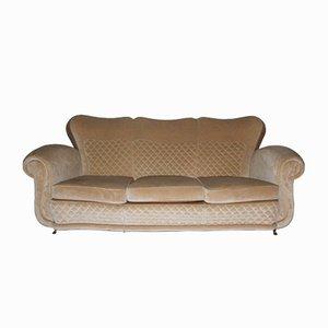 Beige Velvet Sofa with Duck's Beak Feet, 1940s