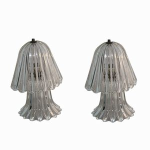 Mushroom-Shaped Murano Glass Table Lamps by Ercole Barovier, 1940s, Set of 2