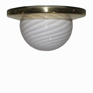 Large Brass & Murano Art Glass Ceiling Light from Veart, 1970s