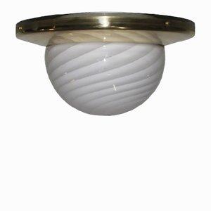 Luce da soffitto grande in ottone e vetro di Murano di Veart, anni '70