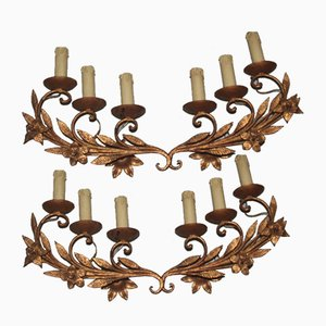 Large French Hand-Forged Metal Wall Lights, 1950s, Set of 2
